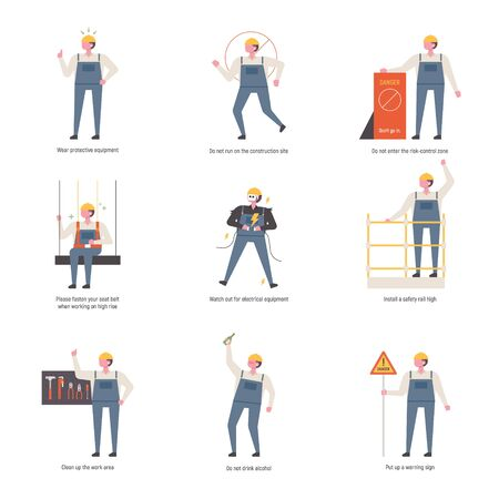 Character explaining safety rules at construction site. flat design style minimal vector illustration.  イラスト・ベクター素材