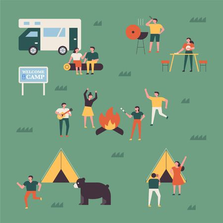 Many people camp happily. flat design style minimal vector illustration.
