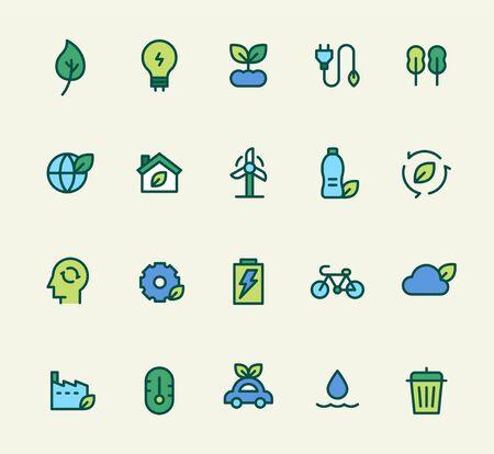 Environment icon set. flat design style minimal vector illustration.