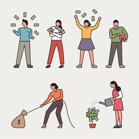 People who waste money. Woman planting a money tree. flat design style minimal vector illustration.