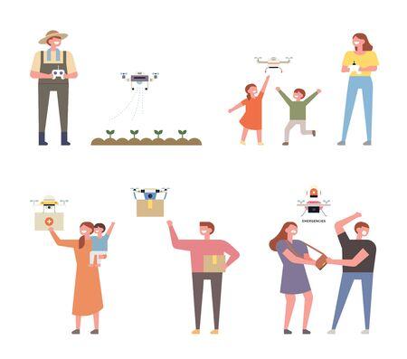 Tecnología de drones para ver diversas tareas. Ilustración de vector mínimo de estilo de diseño plano.