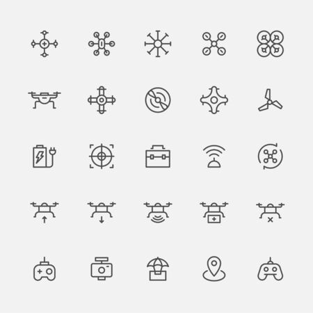 Outline icons related to drones. flat design style minimal vector illustration.