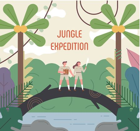 Expert character exploring in the jungle. flat design style minimal vector illustration.