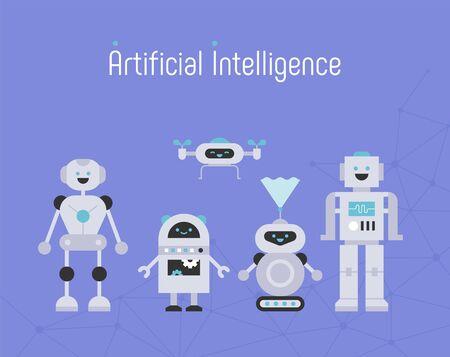 Artificial intelligence. flat design style minimal vector illustration.