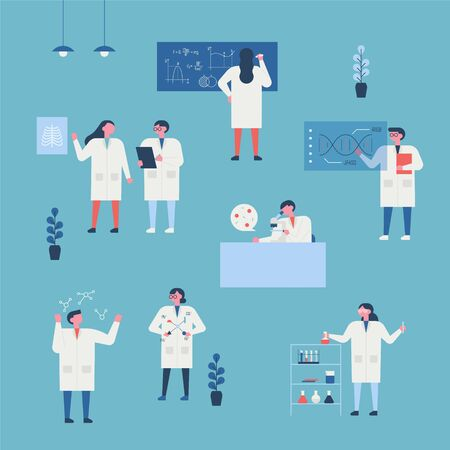 Researchers doing various experiments in the lab. flat design style minimal vector illustration. Banco de Imagens - 130030891