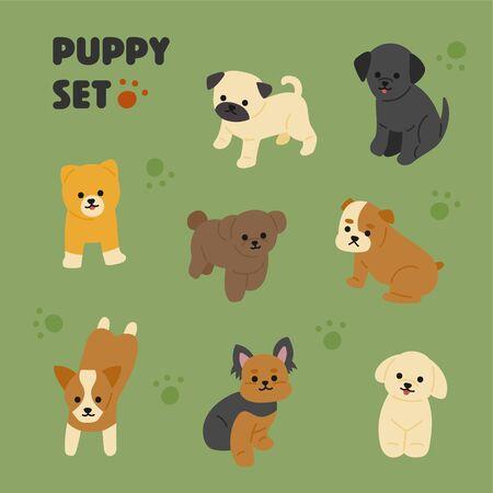 Cute puppies Handwriting style illustration. flat design style minimal vector illustration.