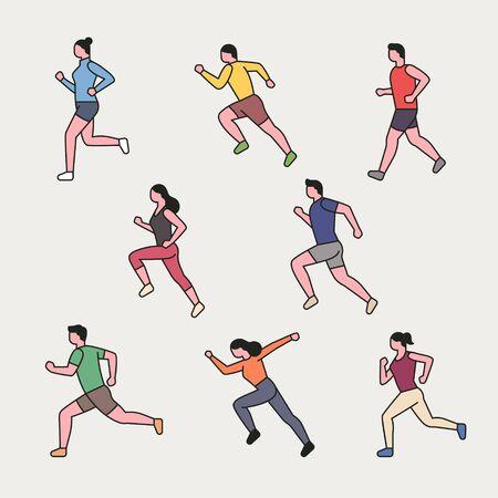 Ejecución de caracteres de esquema de carácter en maratón. Ilustración de vector mínimo de estilo de diseño plano.