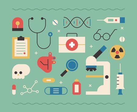 Objects related to medical care. flat design style minimal vector illustration.