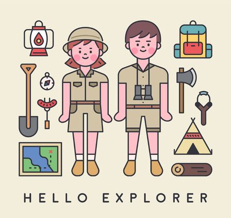 Cute character couple dressed in explorer costume with expedition equipment. flat design style minimal vector illustration.