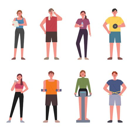People working out in the gym. flat design style minimal vector illustration.  イラスト・ベクター素材