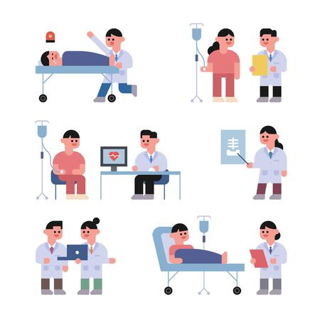 Little cute doctor character. Various tasks of doctors working in the hospital. flat design style minimal vector illustration.