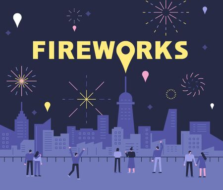 Fireworks Postcard. People are watching fireworks in the background of the city. flat design style minimal illustration.