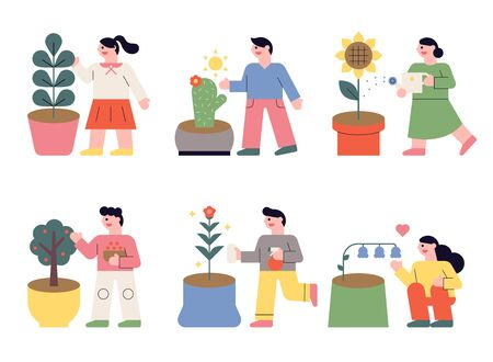 People who grow various flowers in their own pots. flat design style minimal illustration.
