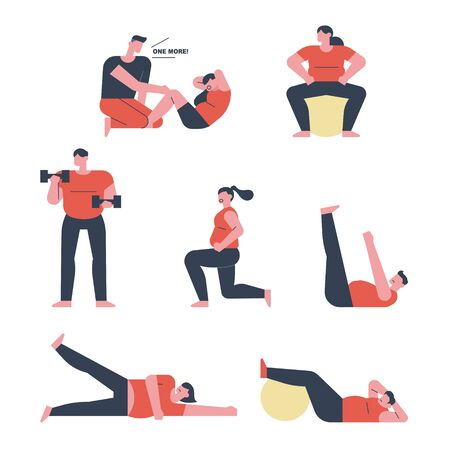 Fat people are doing weight training. flat design style minimal illustration.