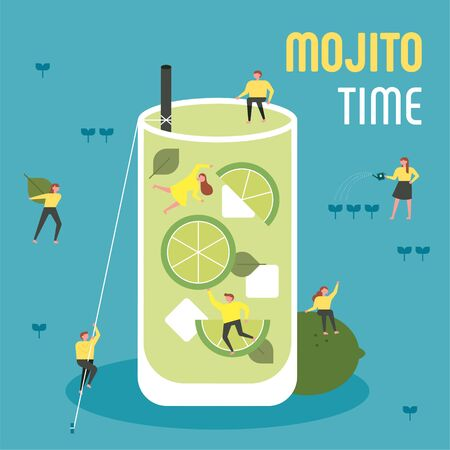 Small people are drinking giant mojito. flat design style minimal illustration.