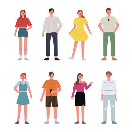 Set of men and women characters wearing summer clothes. flat design style minimal illustration. 일러스트