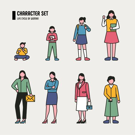 Growth stage character by age group. Outline style. flat design style minimal illustration. 일러스트