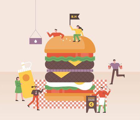 Small people are making huge hamburgers at fast food restaurants. flat design style minimal illustration.