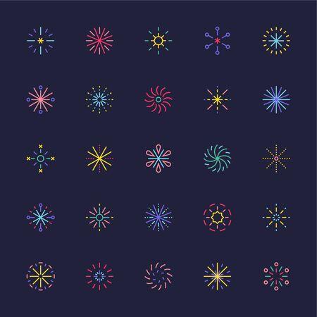 Fireworks icon collection set of various patterns. flat design style minimal illustration.