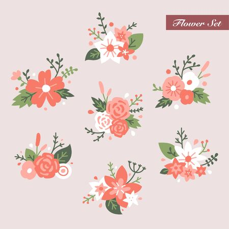 Beautiful flower corsage set. flat design style minimal illustration.