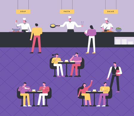Buffet restaurant interior background. Chefs cooking, guests dining at the table, serving waiters. flat design style minimal illustration.