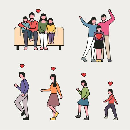 outline style happy family character set. flat design style minimal illustration.