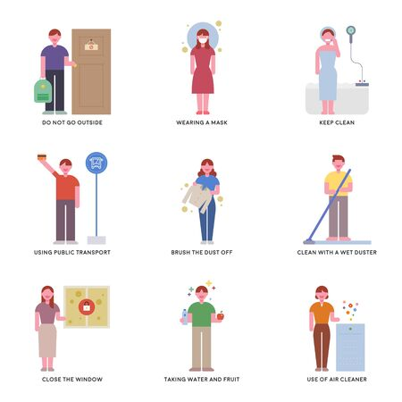 Characters showing how to prevent fine dusty days. flat design style minimal illustration. 일러스트
