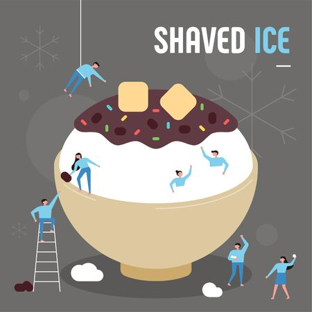 Asian summer dessert. Small people who make giant red bean sauce shaved ice. flat design style minimal illustration.