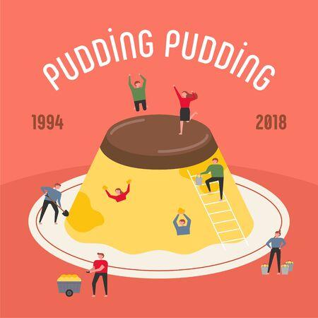 Small people are having fun around a huge pudding. flat design style minimal illustration. 일러스트