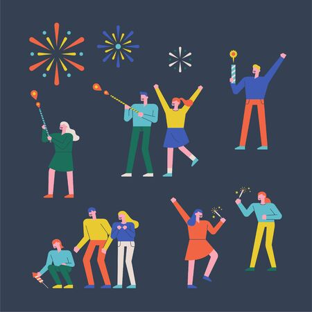 Fireworks People Characters Collection Set. flat design style minimal illustration.
