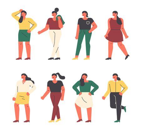 Plus size nice female characters. flat design style minimal illustration. 일러스트