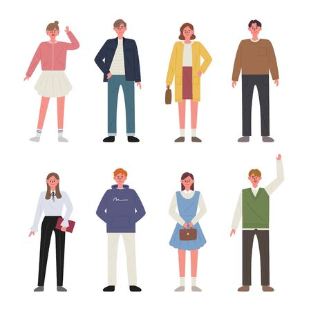 Set of men and women characters wearing spring clothes. flat design style minimal illustration. 일러스트