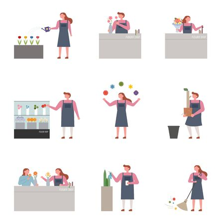 Collection set of employees working at flower shop. flat design style minimal illustration. 일러스트