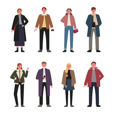 Set of men and women characters wearing autumn clothes. flat design style minimal illustration. 일러스트