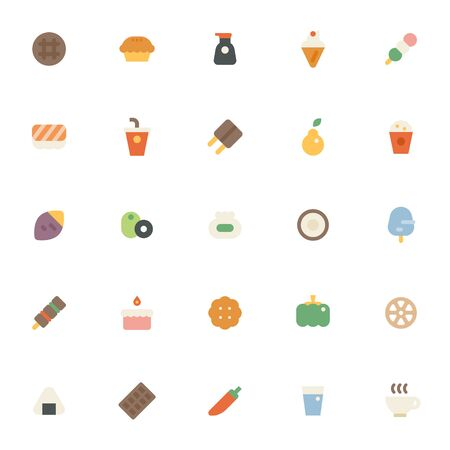 Various food icons collection set. flat design style minimal illustration.