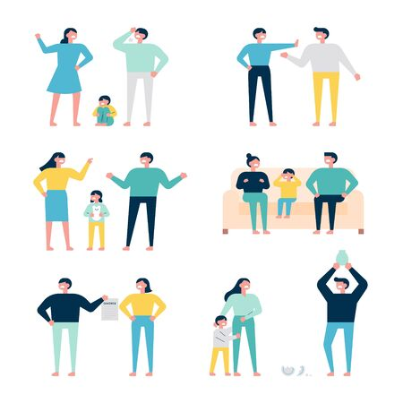 Set of family characters fighting and quarreling with each other. flat design style minimal illustration.