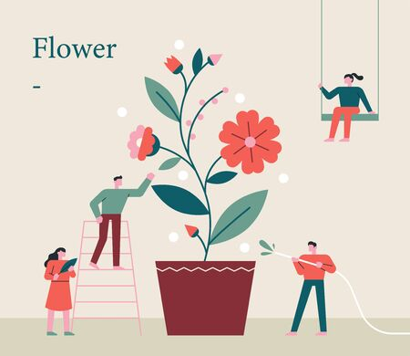 Small people are growing giant flowers together. flat design style minimal illustration. 일러스트