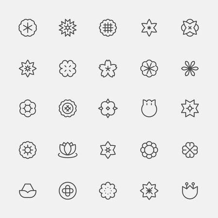 Set of monochrome simple line style flower icons. flat design style minimal illustration.