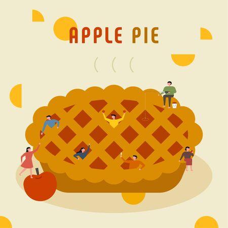 Small people are making huge apple pies. flat design style minimal illustration. 일러스트