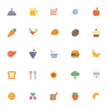 Various food icons collection set. flat design style minimal illustration.