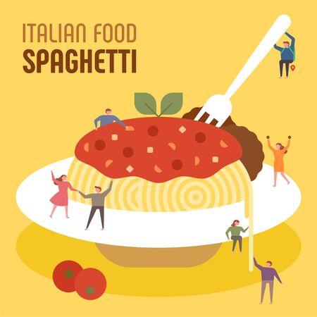 Small people are eating huge Italian spaghetti. flat design style minimal illustration.