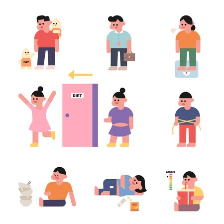 Fat characters. Characters show various fat eating habits. flat design style minimal illustration.