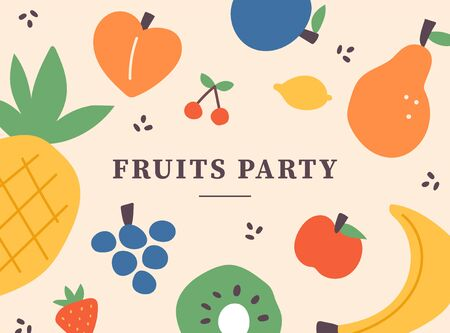 Fruit illustration pattern card. flat design style minimal illustration.
