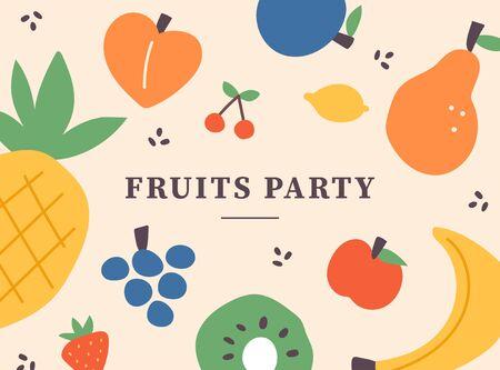 Tarjeta de patrón de ilustración de fruta. Ilustración mínima de estilo de diseño plano. Ilustración de vector