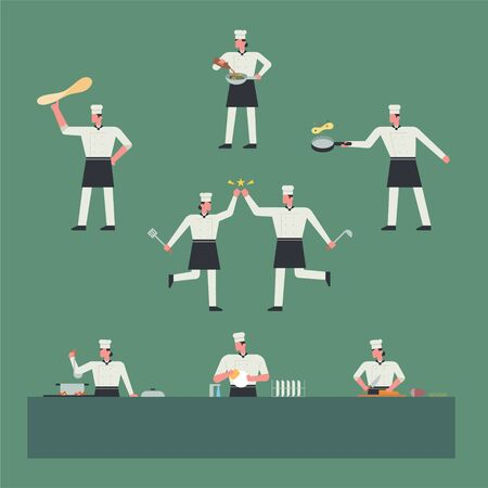 Chefs who cook with various cooking utensils. flat design style minimal vector illustration. Иллюстрация