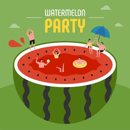 Small people have a summer party while swimming in a giant watermelon. flat design style minimal vector illustration.