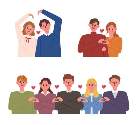 People making various heart shapes with hands .. flat design style minimal vector illustration.