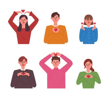 People making various heart shapes with hands. flat design style minimal vector illustration.