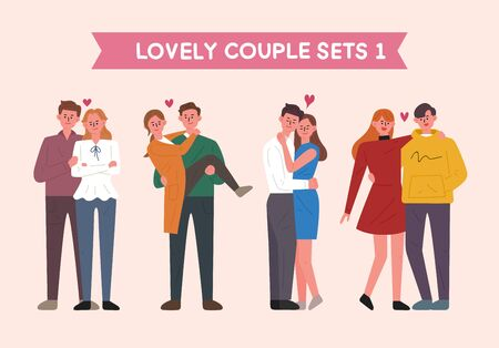 Set of couple characters in various poses. flat design style minimal vector illustration.