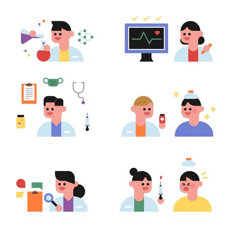 Cute doctor and patient character. flat design style minimal vector illustration.